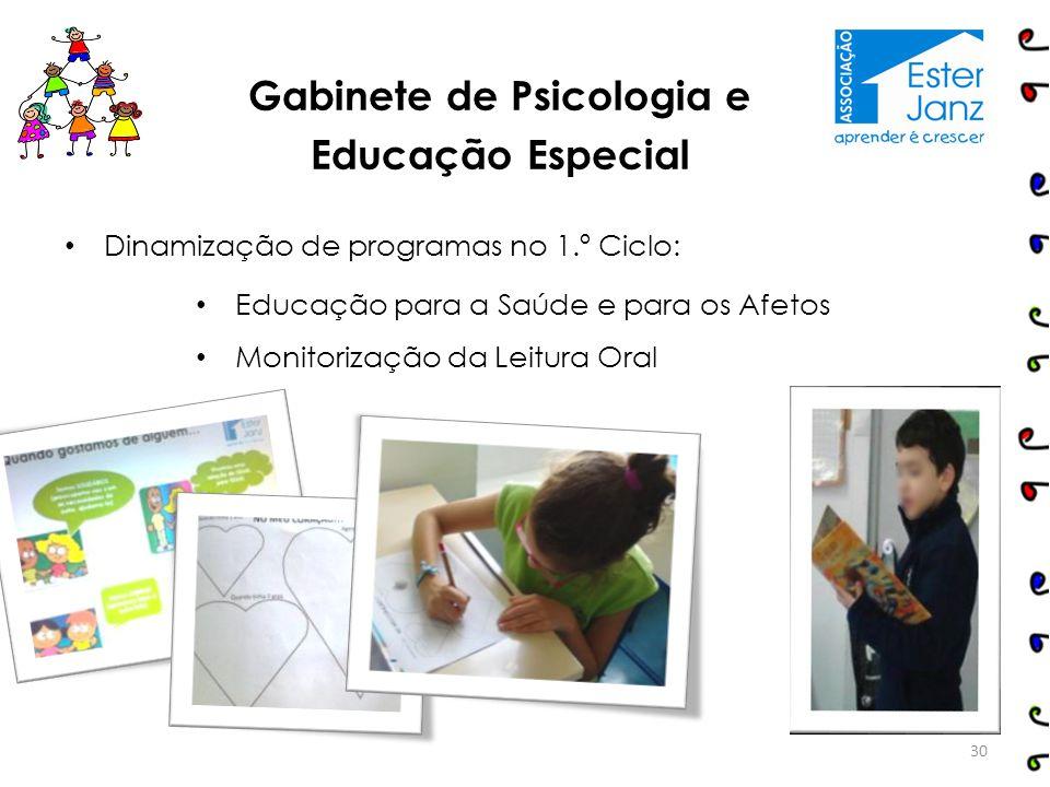 Dinamização de programas no 1.º Ciclo: Educação para a Saúde e para os Afetos Monitorização da Leitura Oral 30 Gabinete de Psicologia e Educação Espec