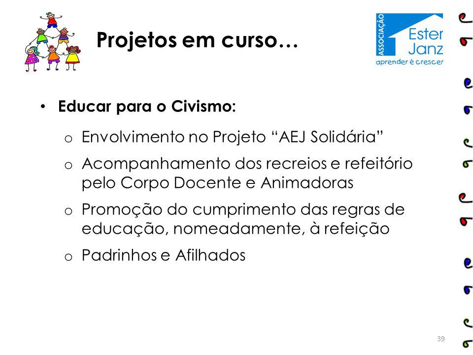 """Educar para o Civismo: o Envolvimento no Projeto """"AEJ Solidária"""" o Acompanhamento dos recreios e refeitório pelo Corpo Docente e Animadoras o Promoção"""