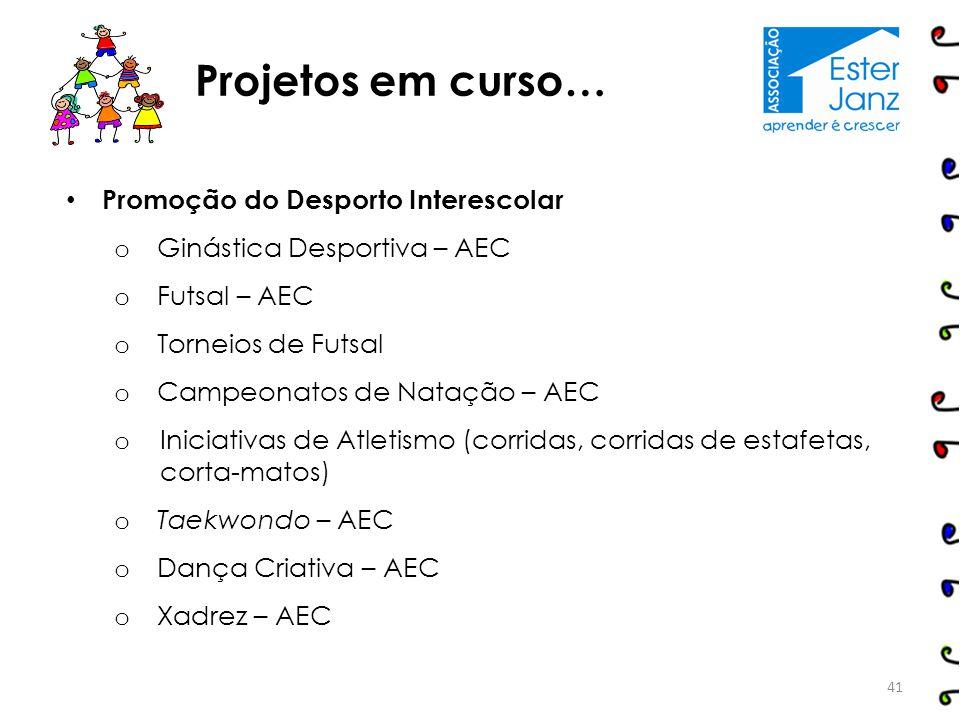 Promoção do Desporto Interescolar o Ginástica Desportiva – AEC o Futsal – AEC o Torneios de Futsal o Campeonatos de Natação – AEC o Iniciativas de Atl