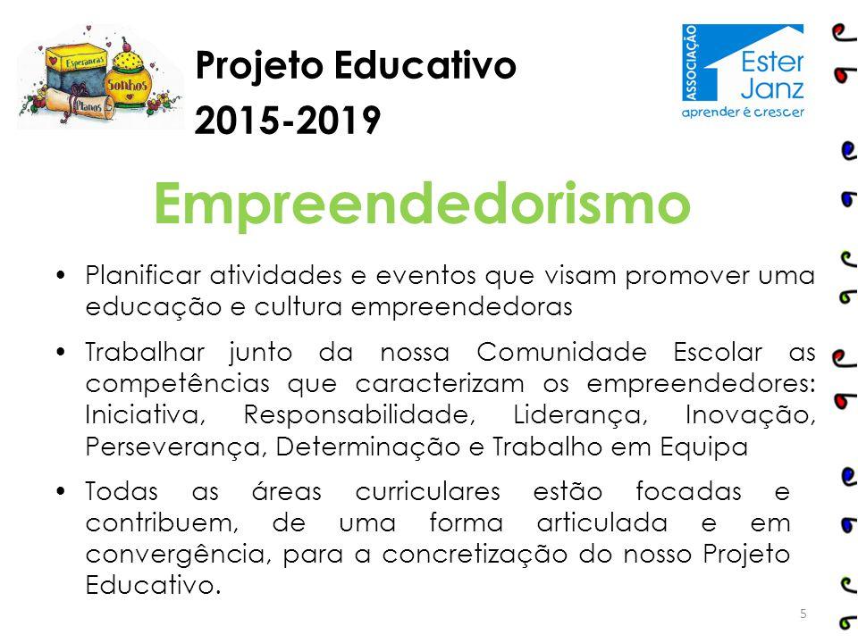 Projeto Educativo 2015-2019 Todas as áreas curriculares estão focadas e contribuem, de uma forma articulada e em convergência, para a concretização do