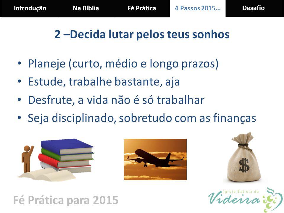 IntroduçãoNa BíbliaFé Prática 4 Passos 2015... Desafio Fé Prática para 2015 2 –Decida lutar pelos teus sonhos Planeje (curto, médio e longo prazos) Es