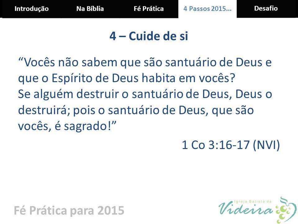 """IntroduçãoNa BíbliaFé Prática 4 Passos 2015... Desafio Fé Prática para 2015 4 – Cuide de si """"Vocês não sabem que são santuário de Deus e que o Espírit"""