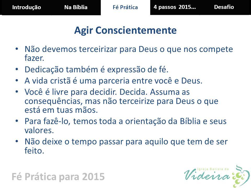 IntroduçãoNa BíbliaFé Prática 4 passos 2015...Desafio Fé Prática para 2015 Agir Conscientemente Não devemos terceirizar para Deus o que nos compete fa