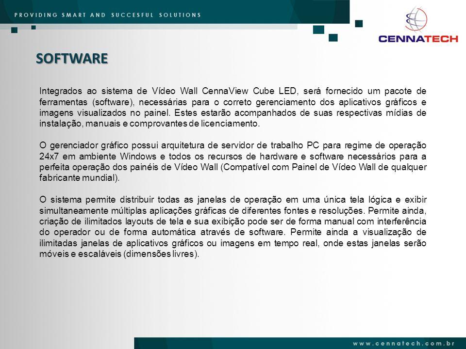 SOFTWARE Integrados ao sistema de Vídeo Wall CennaView Cube LED, será fornecido um pacote de ferramentas (software), necessárias para o correto gerenc