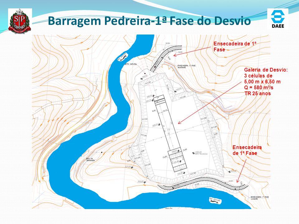Barragem Pedreira-1ª Fase do Desvio Ensecadeira de 1ª Fase Galeria de Desvio: 3 células de 5,00 m x 6,50 m Q = 580 m³/s TR 25 anos Ensecadeira de 1ª F