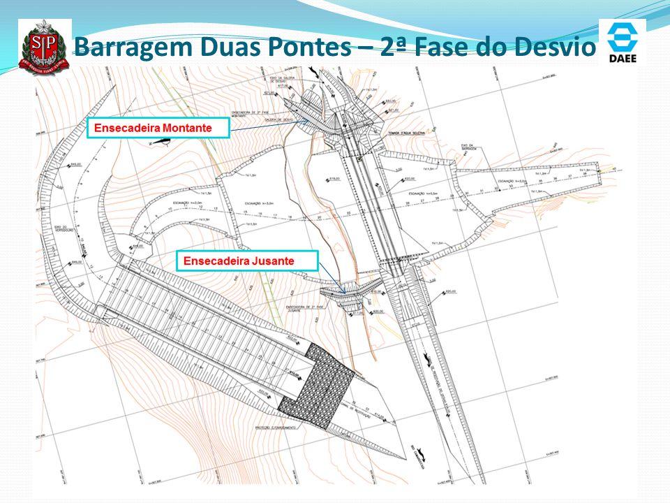 Barragem Duas Pontes – 2ª Fase do Desvio Ensecadeira Montante Ensecadeira Jusante