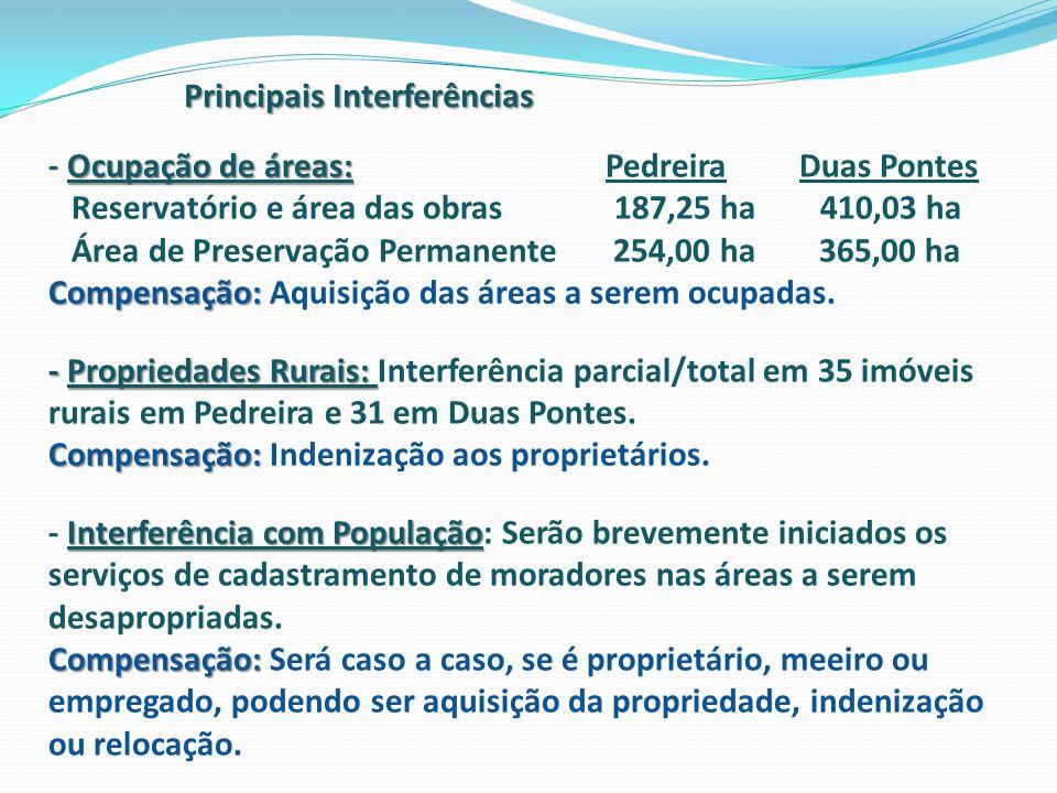 Principais Interferências Ocupação de áreas: - Ocupação de áreas: Pedreira Duas Pontes Reservatório e área das obras 187,25 ha 410,03 ha Área de Prese