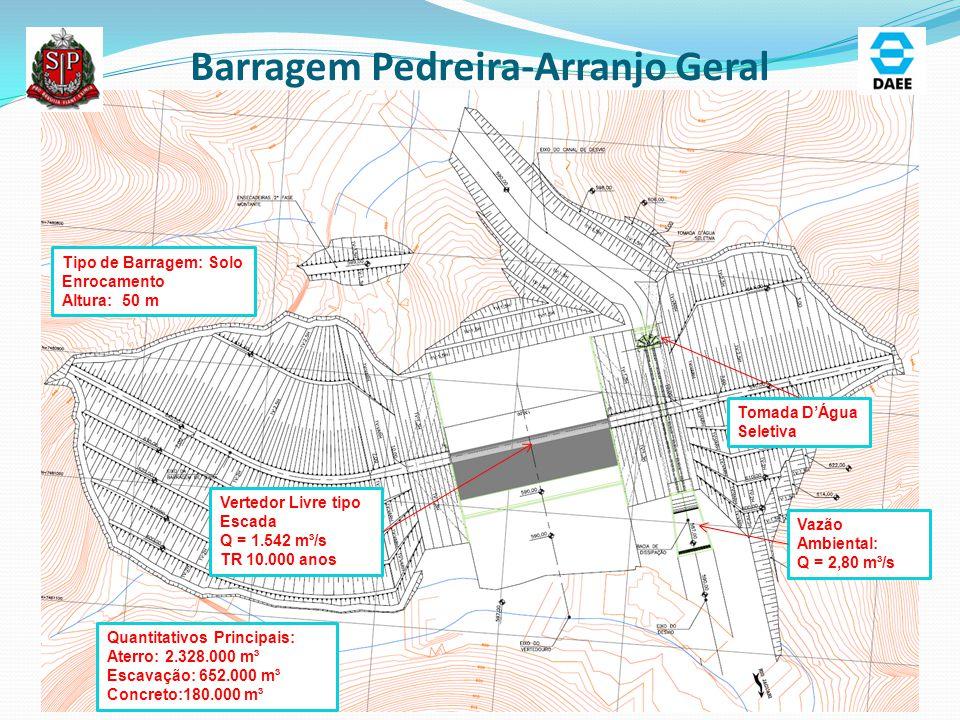 Barragem Pedreira-Arranjo Geral Vertedor Livre tipo Escada Q = 1.542 m³/s TR 10.000 anos Tipo de Barragem: Solo Enrocamento Altura: 50 m Tomada D'Água