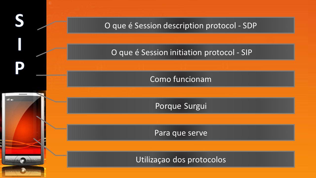 O que é Session description protocol - SDP O que é Session initiation protocol - SIP Como funcionam Porque Surgui Para que serve Utilizaçao dos protoc