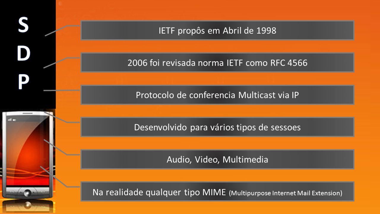 IETF propôs em Abril de 1998 2006 foi revisada norma IETF como RFC 4566 Protocolo de conferencia Multicast via IP Desenvolvido para vários tipos de se
