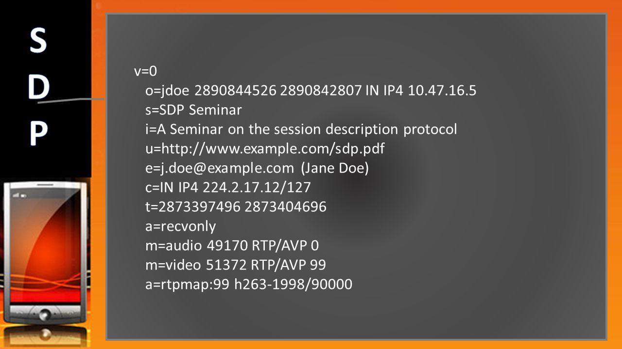 v=0 o=jdoe 2890844526 2890842807 IN IP4 10.47.16.5 s=SDP Seminar i=A Seminar on the session description protocol u=http://www.example.com/sdp.pdf e=j.