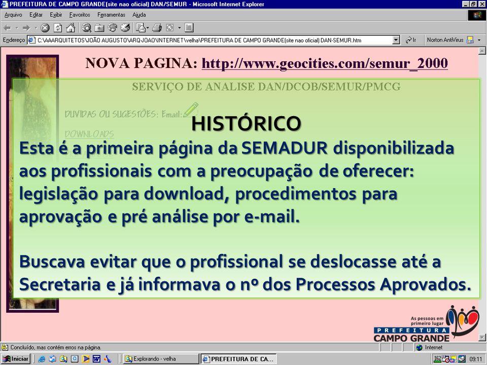 HISTÓRICO Esta é a primeira página da SEMADUR disponibilizada aos profissionais com a preocupação de oferecer: legislação para download, procedimentos para aprovação e pré análise por e-mail.