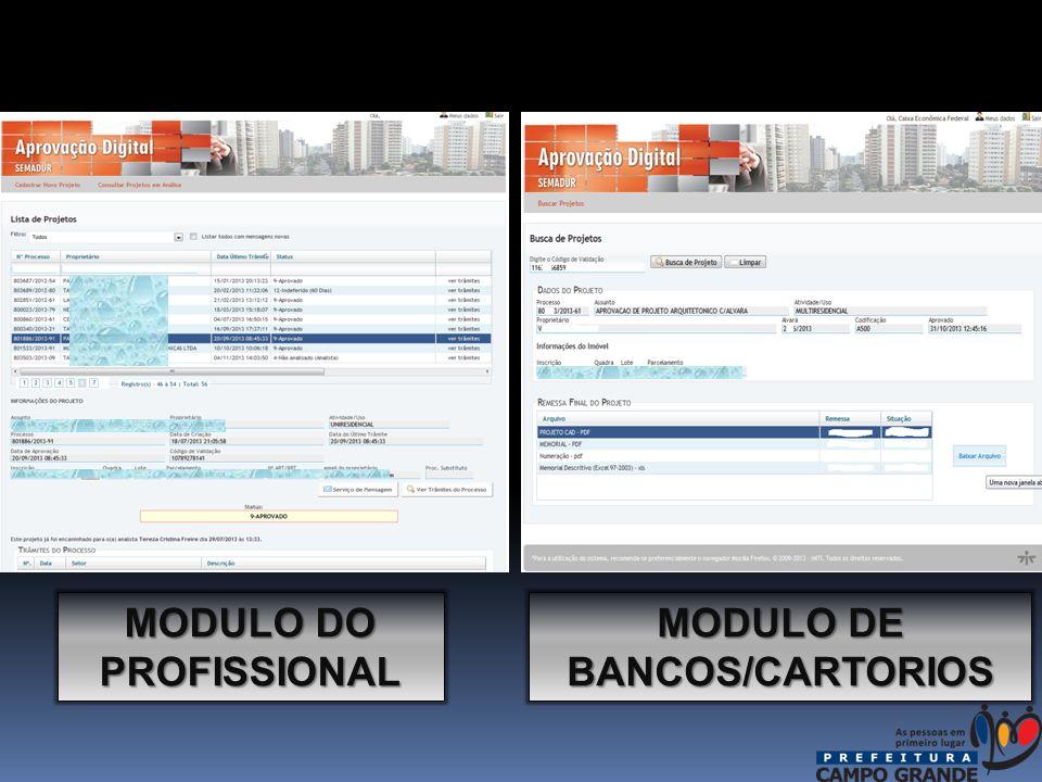 MODULO DE BANCOS/CARTORIOS MODULO DO PROFISSIONAL