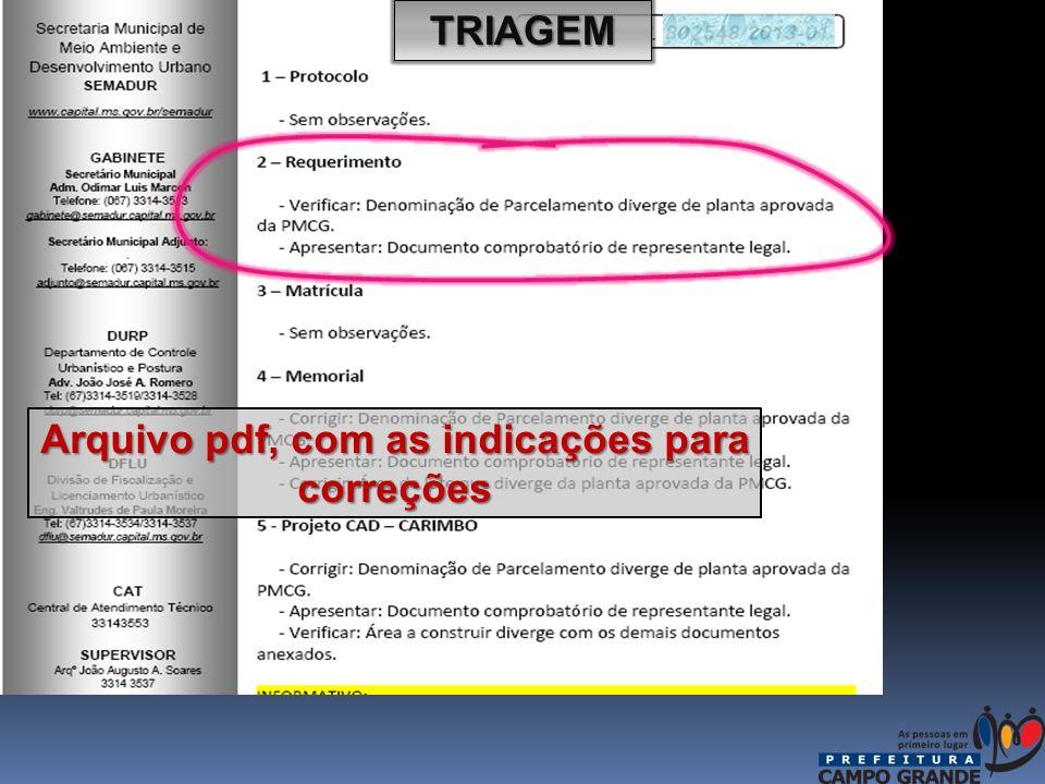 TRIAGEM Arquivo pdf, com as indicações para correções