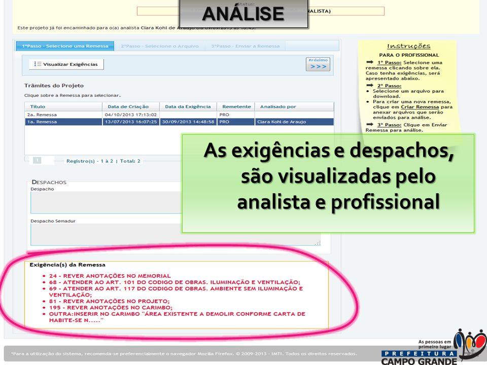 As exigências e despachos, são visualizadas pelo analista e profissional ANÁLISE