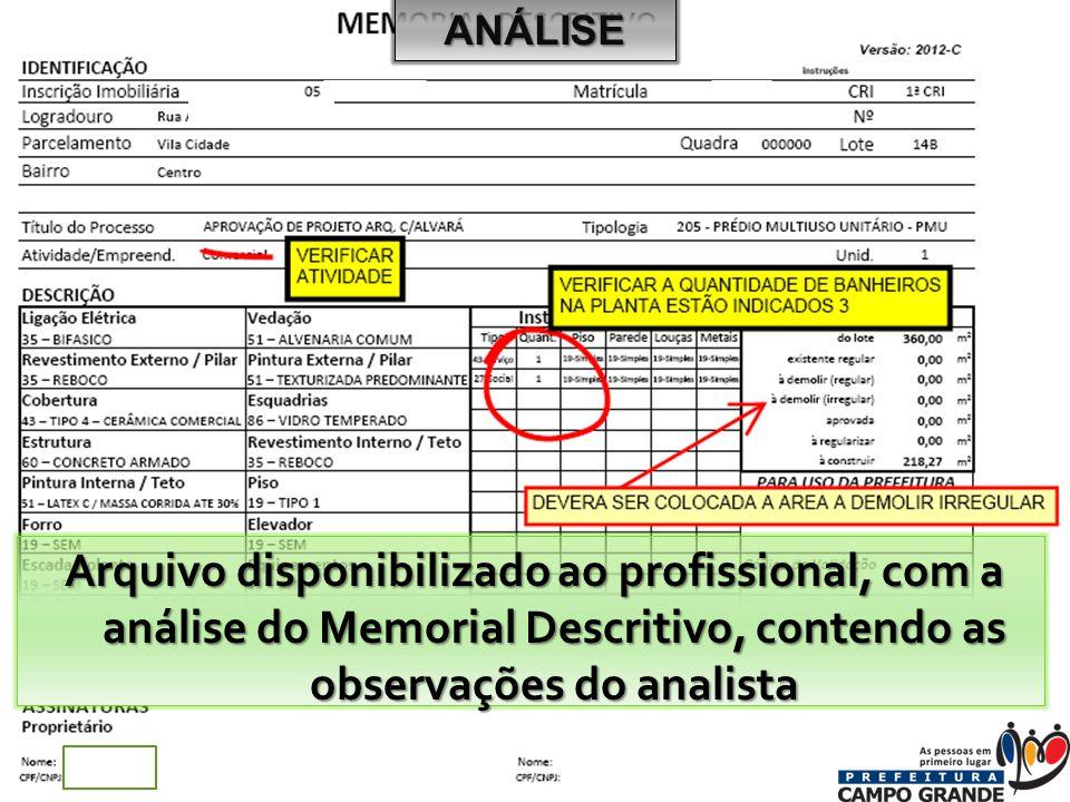 Arquivo disponibilizado ao profissional, com a análise do Memorial Descritivo, contendo as observações do analista ANÁLISE