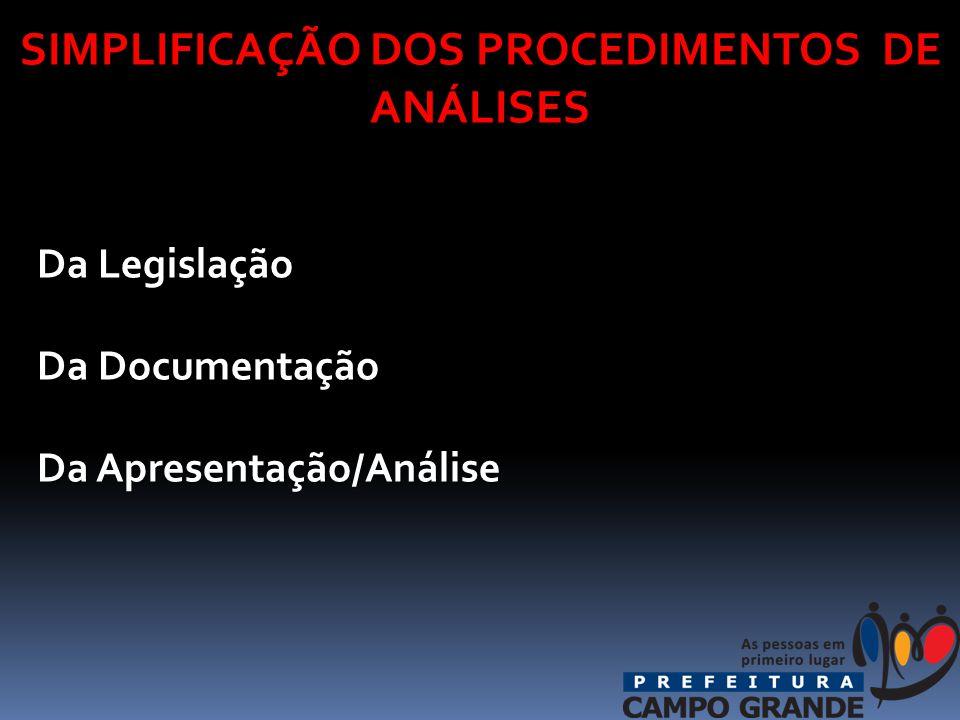 SIMPLIFICAÇÃO DOS PROCEDIMENTOS DE ANÁLISES Da Legislação Da Legislação Da Documentação Da Documentação Da Apresentação/Análise Da Apresentação/Análise