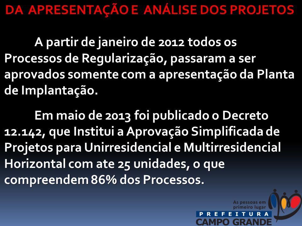 DA APRESENTAÇÃO E ANÁLISE DOS PROJETOS A partir de janeiro de 2012 todos os Processos de Regularização, passaram a ser aprovados somente com a apresentação da Planta de Implantação.