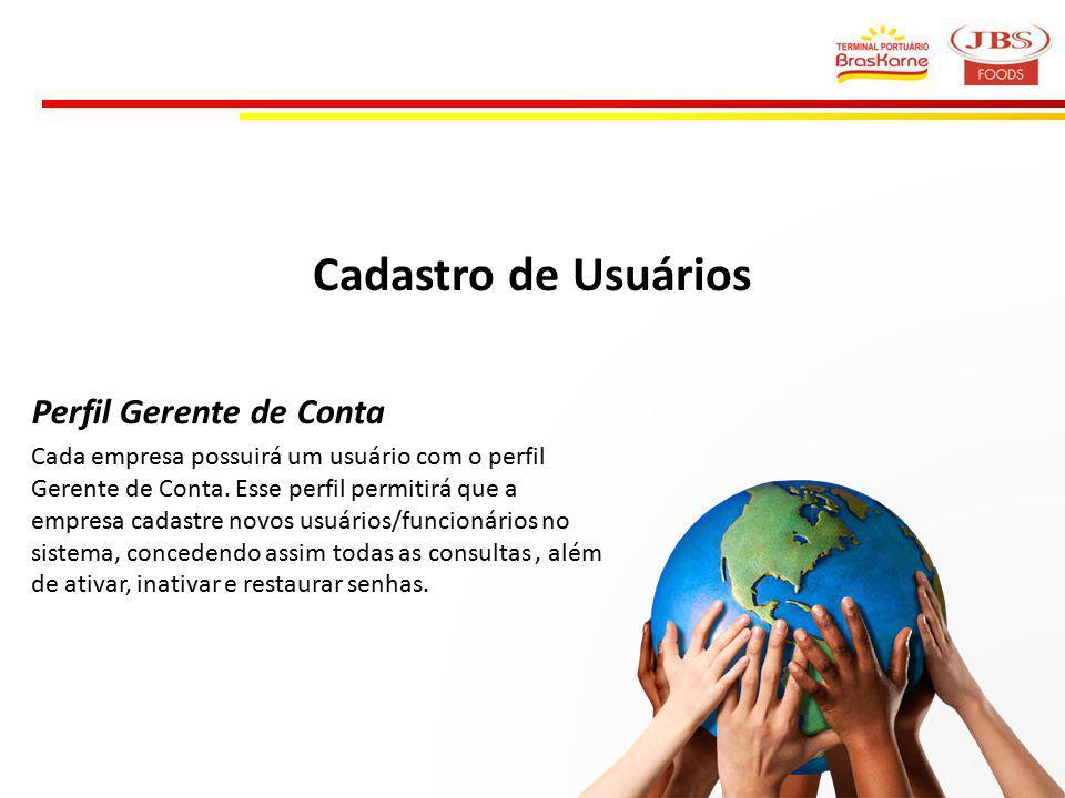 Cadastro de Usuários Perfil Gerente de Conta Cada empresa possuirá um usuário com o perfil Gerente de Conta.