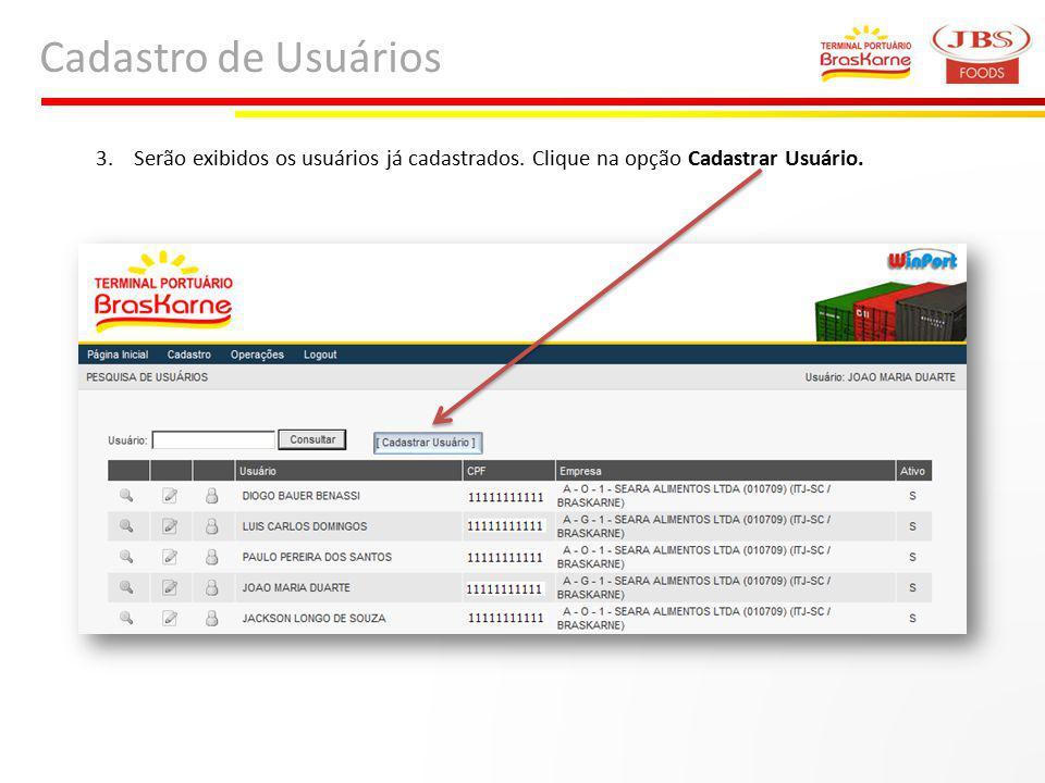 Cadastro de Usuários 3. Serão exibidos os usuários já cadastrados. Clique na opção Cadastrar Usuário.