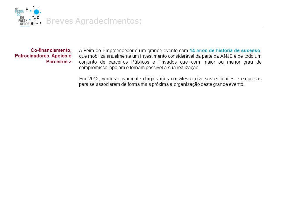 Introdução: ORGANIZAÇÃO A ANJE – Associação Nacional de Jovens Empresários, através da marca Academia dos Empreendedores e com o apoio do Instituto de Emprego e Formação Profissional organiza entre 22 e 24 de Novembro de 2012, a 15ª edição da Feira do Empreendedor subordinada ao tema Made in Portugal .