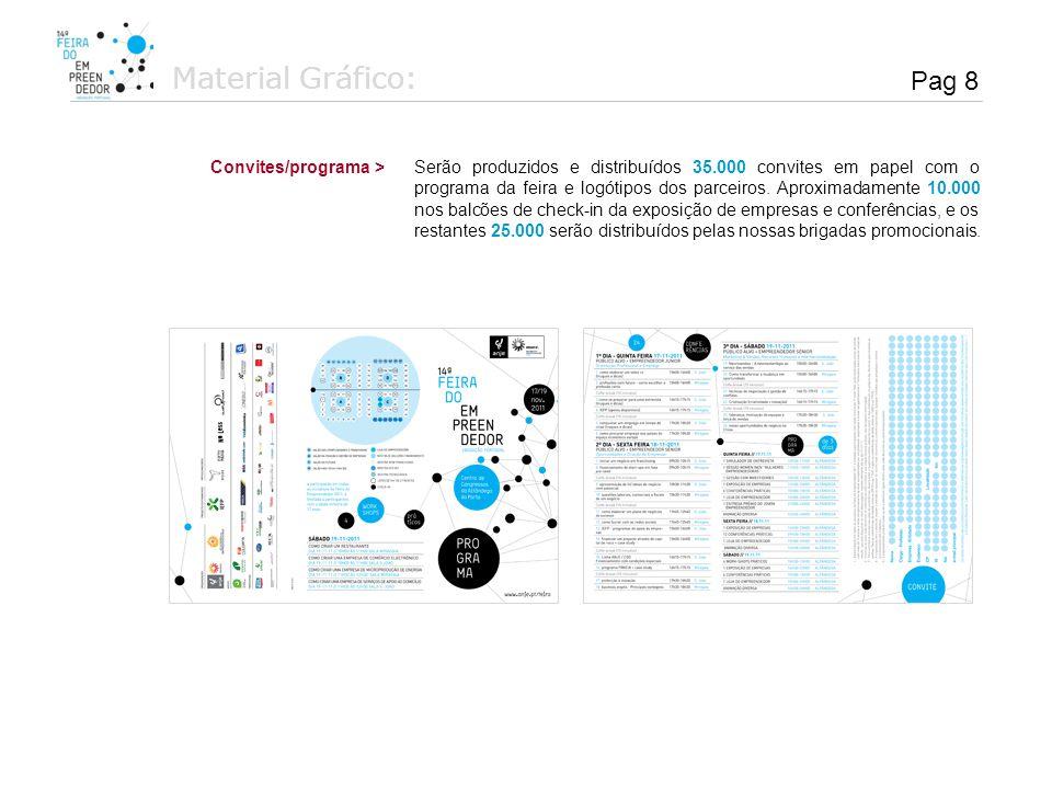 Material Gráfico: Serão produzidos e distribuídos 35.000 convites em papel com o programa da feira e logótipos dos parceiros. Aproximadamente 10.000 n