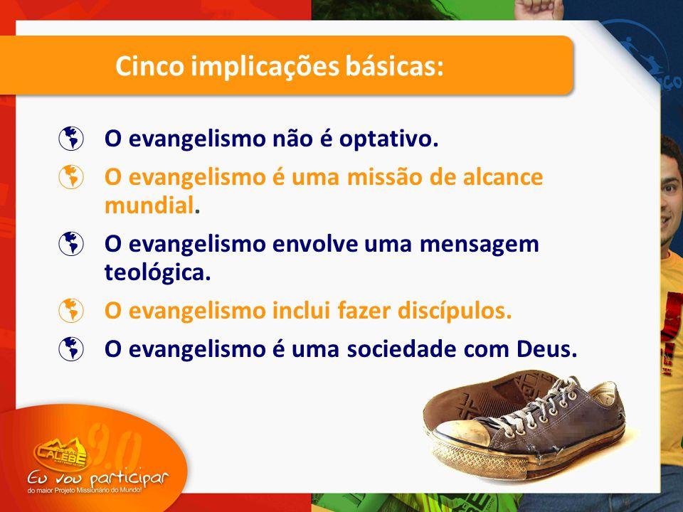  O evangelismo não é optativo.  O evangelismo é uma missão de alcance mundial.  O evangelismo envolve uma mensagem teológica.  O evangelismo inclu