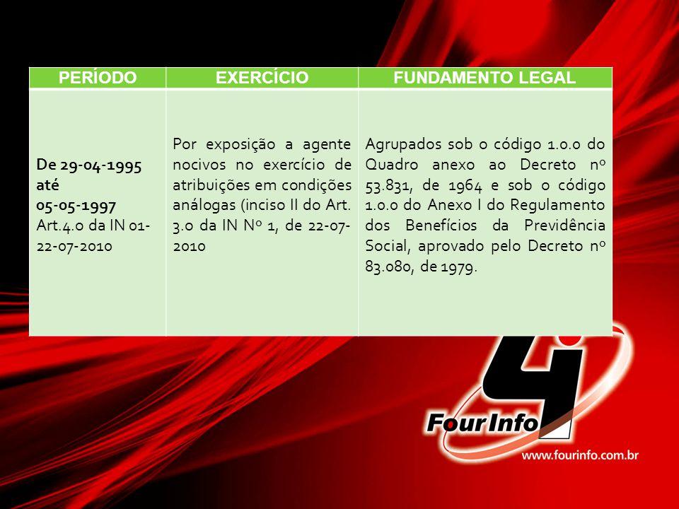 PERÍODOEXERCÍCIOFUNDAMENTO LEGAL De 29-04-1995 até 05-05-1997 Art.4.o da IN 01- 22-07-2010 Por exposição a agente nocivos no exercício de atribuições