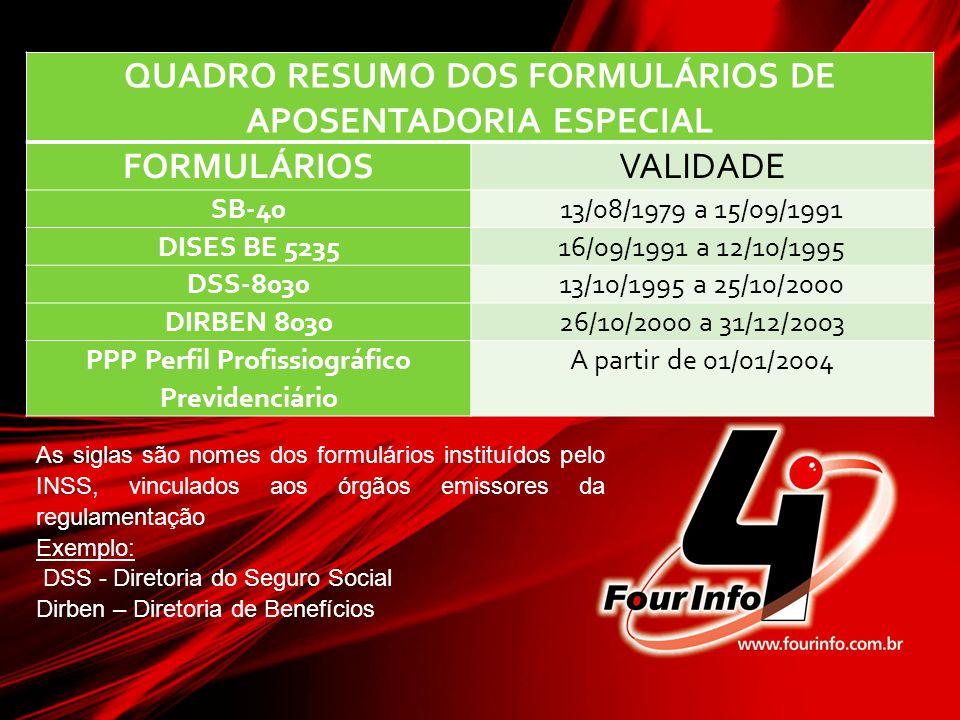 QUADRO RESUMO DOS FORMULÁRIOS DE APOSENTADORIA ESPECIAL FORMULÁRIOSVALIDADE SB-4013/08/1979 a 15/09/1991 DISES BE 523516/09/1991 a 12/10/1995 DSS-8030