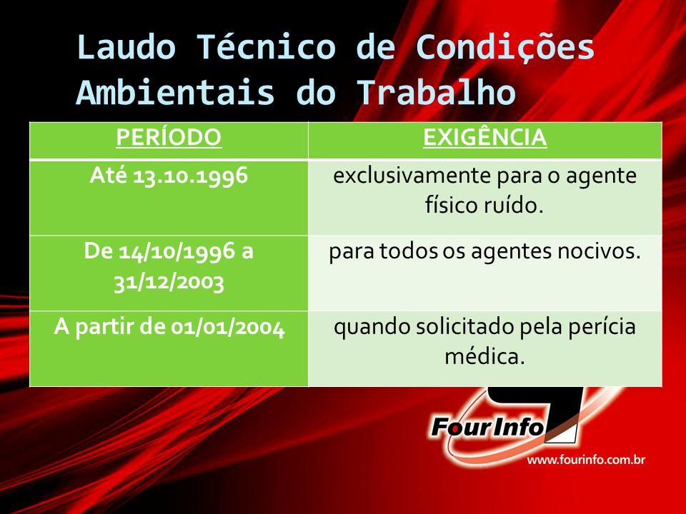 Laudo Técnico de Condições Ambientais do Trabalho PERÍODOEXIGÊNCIA Até 13.10.1996exclusivamente para o agente físico ruído. De 14/10/1996 a 31/12/2003