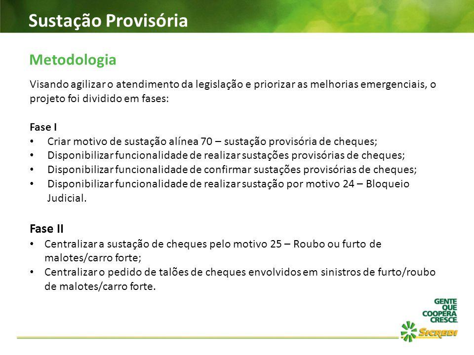 Sustação Provisória Metodologia Visando agilizar o atendimento da legislação e priorizar as melhorias emergenciais, o projeto foi dividido em fases: F