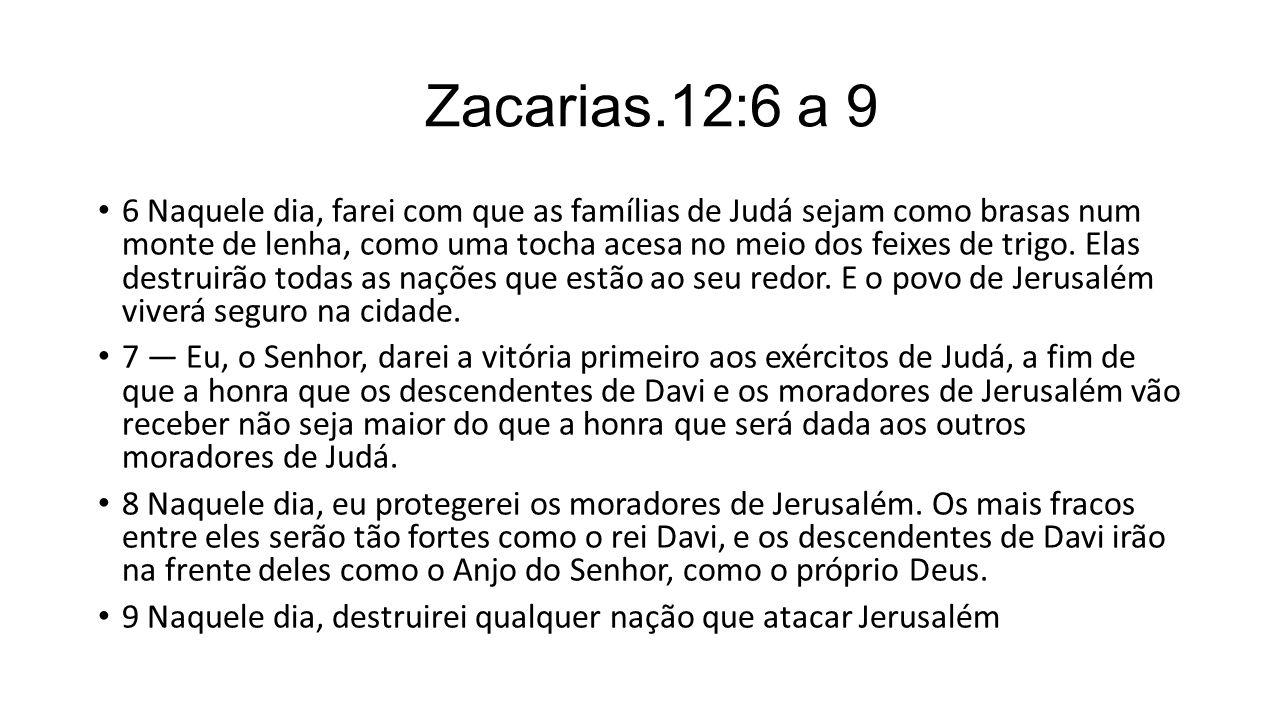 Zacarias.12:6 a 9 6 Naquele dia, farei com que as famílias de Judá sejam como brasas num monte de lenha, como uma tocha acesa no meio dos feixes de tr