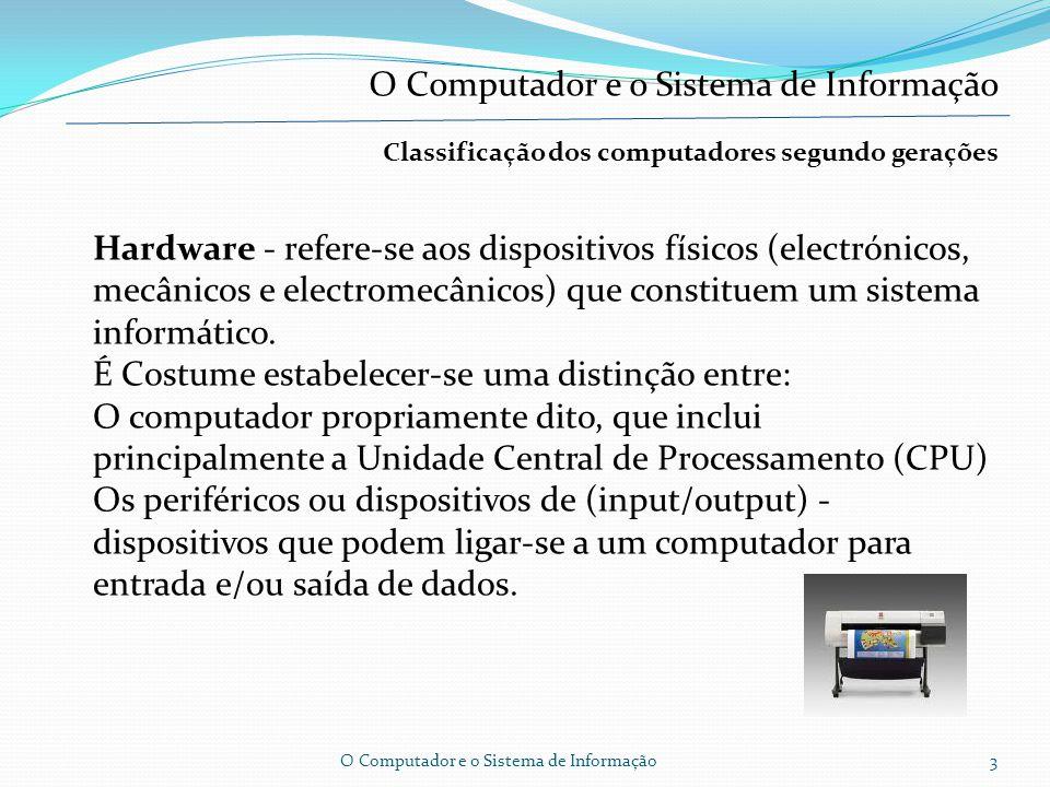Classificação dos computadores segundo gerações Os computadores, são classificados segundo cinco gerações.