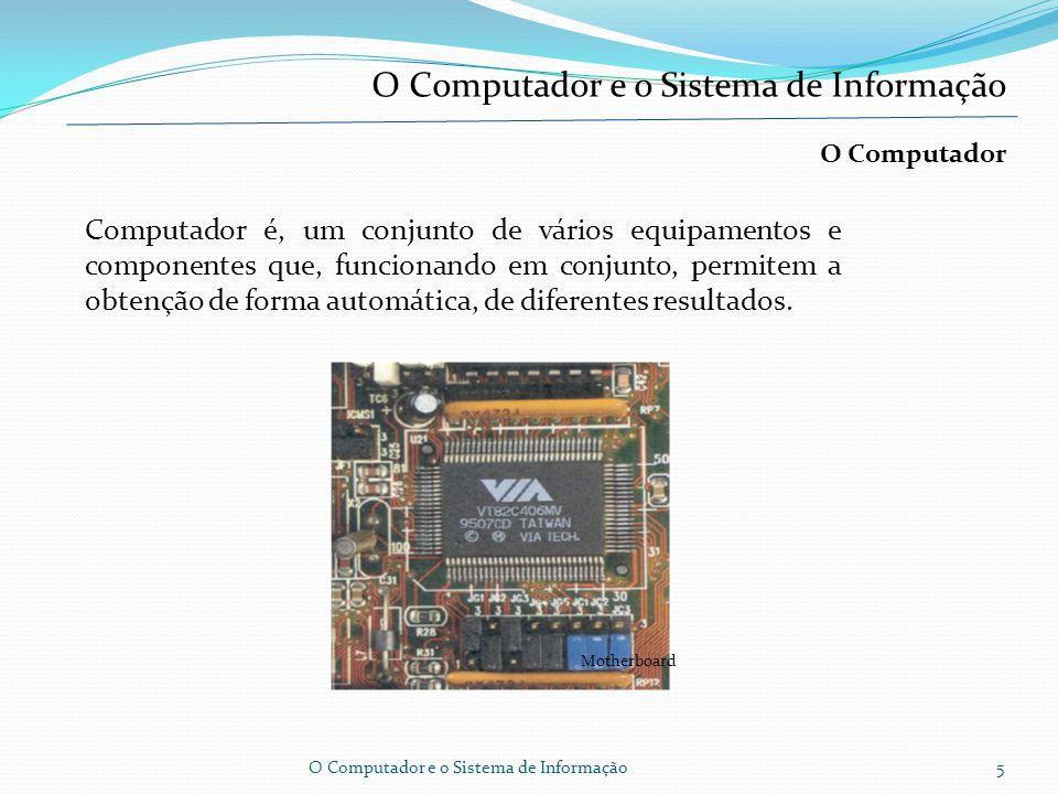 Classificação dos computadores segundo gerações O Computador e o Sistema de Informação4 Software - tem a ver com os programas de computador, ou seja, instruções que são capazes de fazer funcionar o hardware, sob intervenção mais ou menos interactiva dos utilizadores.