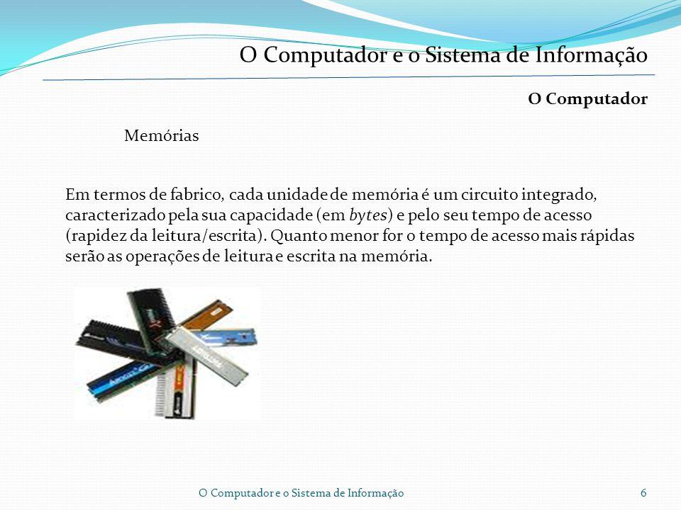 O Computador e o Sistema de Informação O Computador Computador é, um conjunto de vários equipamentos e componentes que, funcionando em conjunto, permi