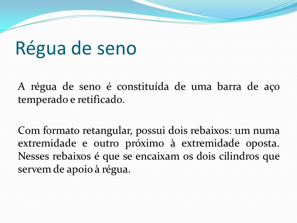 Régua de seno A régua de seno é constituída de uma barra de aço temperado e retificado. Com formato retangular, possui dois rebaixos: um numa extremid