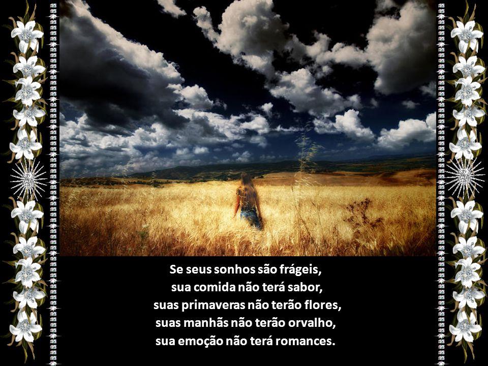 Se seus sonhos são frágeis, sua comida não terá sabor, suas primaveras não terão flores, suas manhãs não terão orvalho, sua emoção não terá romances.