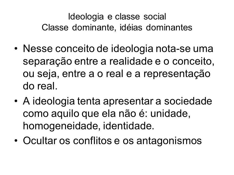 Ideologia e classe social Classe dominante, idéias dominantes Nesse conceito de ideologia nota-se uma separação entre a realidade e o conceito, ou sej