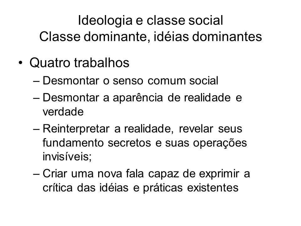 Ideologia e classe social Classe dominante, idéias dominantes Quatro trabalhos –Desmontar o senso comum social –Desmontar a aparência de realidade e v