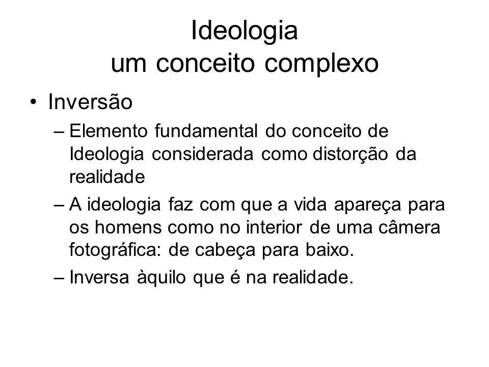 Ideologia um conceito complexo Inversão –Elemento fundamental do conceito de Ideologia considerada como distorção da realidade –A ideologia faz com qu