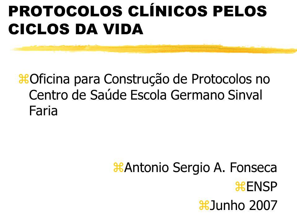 PROTOCOLOS CLÍNICOS PELOS CICLOS DA VIDA zOficina para Construção de Protocolos no Centro de Saúde Escola Germano Sinval Faria zAntonio Sergio A. Fons
