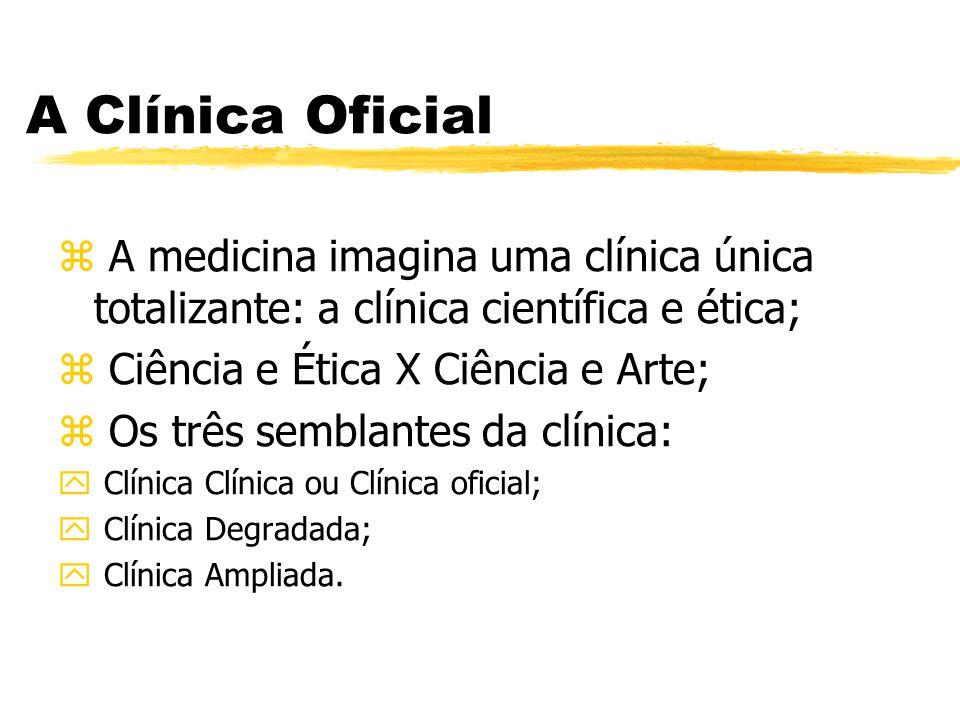 A Clínica Oficial z A medicina imagina uma clínica única totalizante: a clínica científica e ética; z Ciência e Ética X Ciência e Arte; z Os três semb
