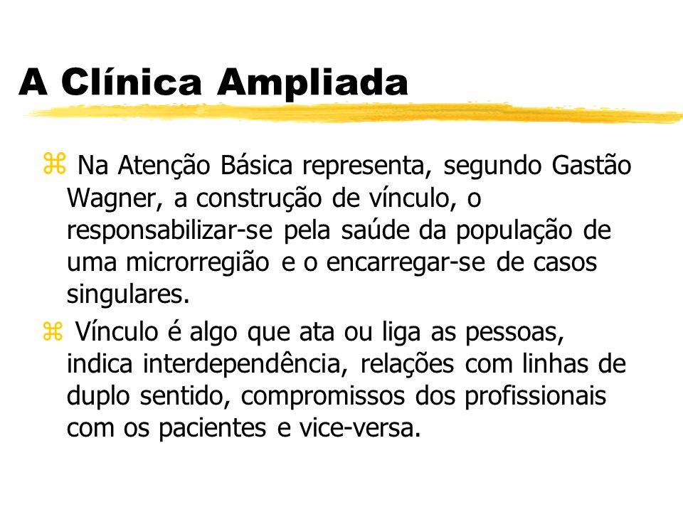 A Clínica Ampliada z Na Atenção Básica representa, segundo Gastão Wagner, a construção de vínculo, o responsabilizar-se pela saúde da população de uma