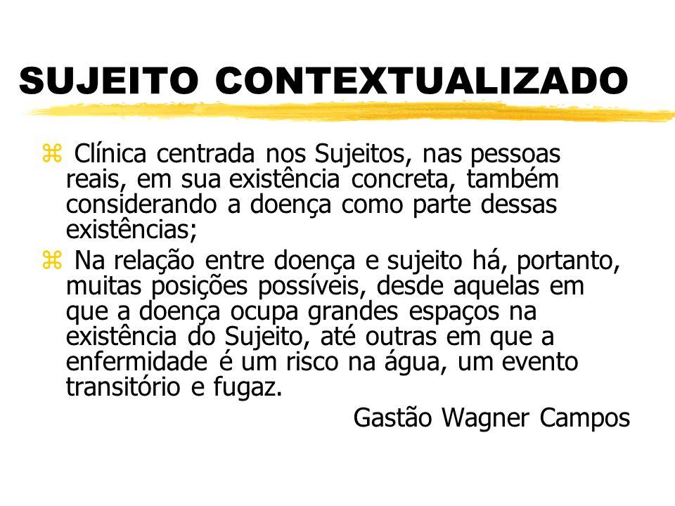 SUJEITO CONTEXTUALIZADO z Clínica centrada nos Sujeitos, nas pessoas reais, em sua existência concreta, também considerando a doença como parte dessas