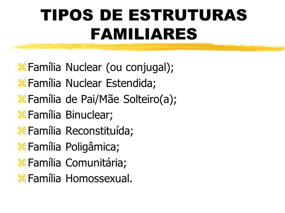 TIPOS DE ESTRUTURAS FAMILIARES zFamília Nuclear (ou conjugal); zFamília Nuclear Estendida; zFamília de Pai/Mãe Solteiro(a); zFamília Binuclear; zFamíl