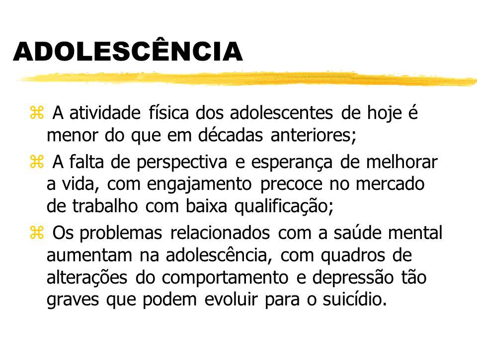 ADOLESCÊNCIA z A atividade física dos adolescentes de hoje é menor do que em décadas anteriores; z A falta de perspectiva e esperança de melhorar a vi