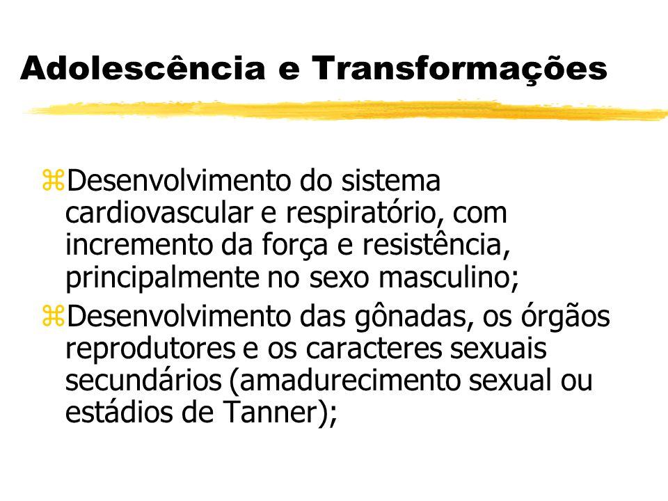 Adolescência e Transformações zDesenvolvimento do sistema cardiovascular e respiratório, com incremento da força e resistência, principalmente no sexo