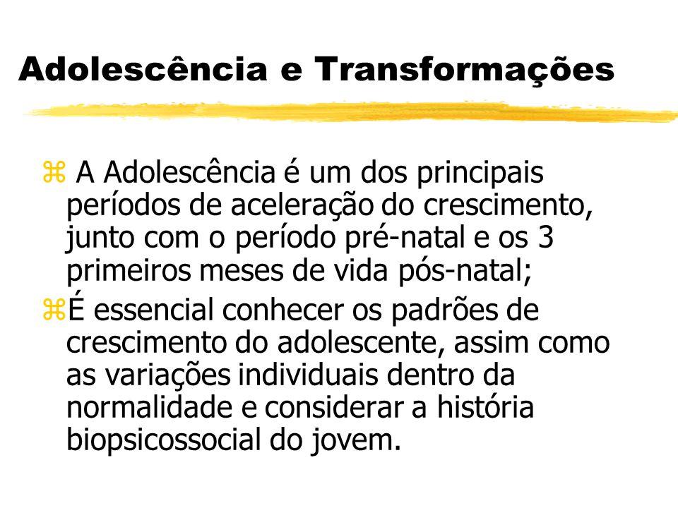 Adolescência e Transformações z A Adolescência é um dos principais períodos de aceleração do crescimento, junto com o período pré-natal e os 3 primeir