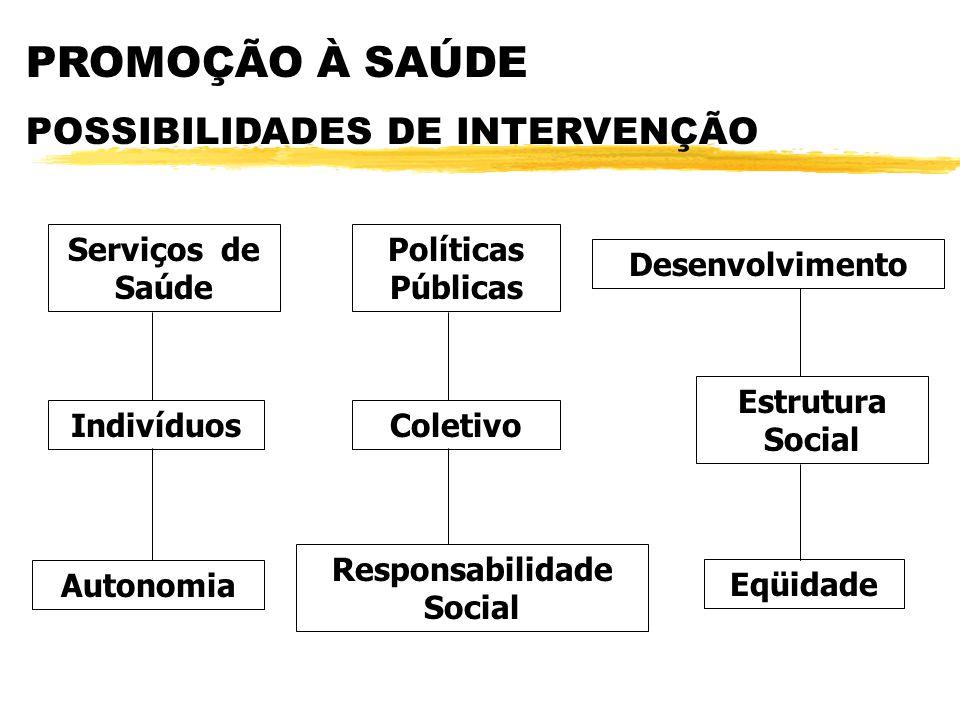 PROMOÇÃO À SAÚDE POSSIBILIDADES DE INTERVENÇÃO Políticas Públicas Desenvolvimento Serviços de Saúde IndivíduosColetivo Estrutura Social Autonomia Eqüi