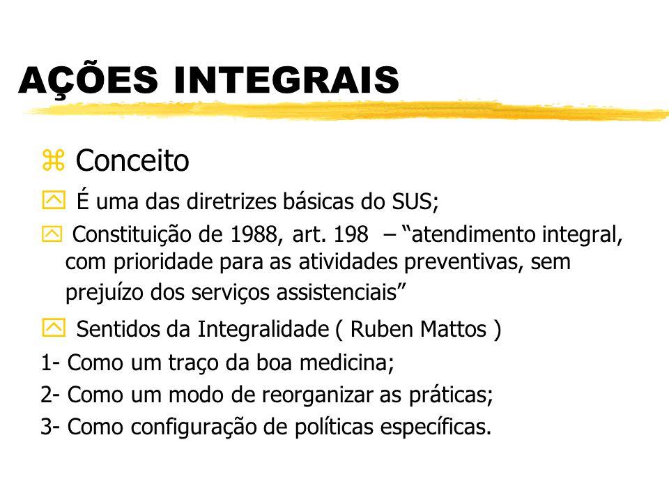 """AÇÕES INTEGRAIS z Conceito y É uma das diretrizes básicas do SUS; y Constituição de 1988, art. 198 – """"atendimento integral, com prioridade para as ati"""